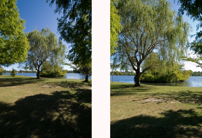 The image at the left was captured at 10mm, the image at right with the lens zoomed into 20mm. Photos © Diane Berkenfeld.